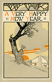 New Year postcard featuring bare tree and house at sunrise