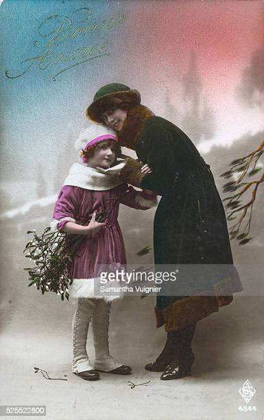 New Year postcard showing mother and daughter