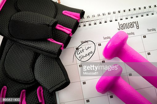 New year resolution and the desire to get in shape : Stock Photo