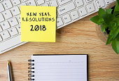 New Year Resolutions 2018 written on Sticky Note on Top Of Office Desk.