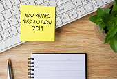 New Year Resolution, Adhesive Note, Desk, Paper, New Year
