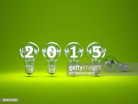 2015 New Year sign inside light bulbs : Stock Photo
