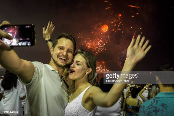 New Year's celebrations over Copacabana beach.
