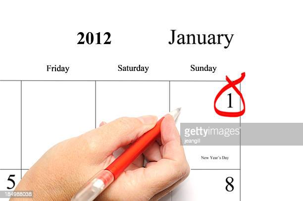 new year's day 2012 calendar entry