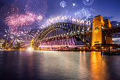 New Year's day fireworks and celebrations in Sydney, Australia.