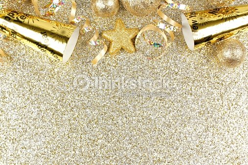 new years eve border on shiny gold background stock photo