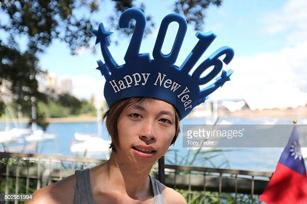 New Years Eve reveller arrives early to get a prime position at Mrs Macquaries Chair on New Year's Eve on December 31 2015 in Sydney Australia