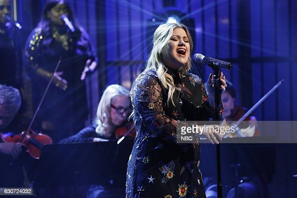 MEYERS 'New Year's Eve Special' Pictured Musical guest Kelly Clarkson performs during the 'Late Night with Seth Meyers New Year's Eve Special' airing...