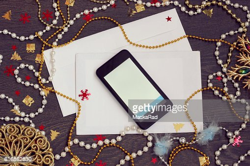 New Year's or Christmas background. Letter to Santa. : Stock Photo
