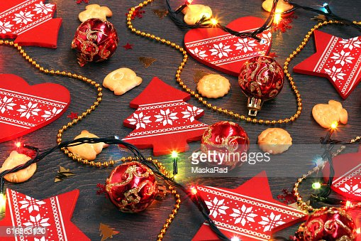 New Year's or Christmas background with red decorative elements : Stock Photo