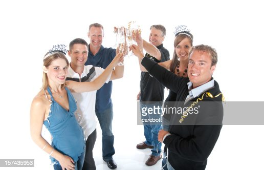 New Year`s Party Group : Stock Photo