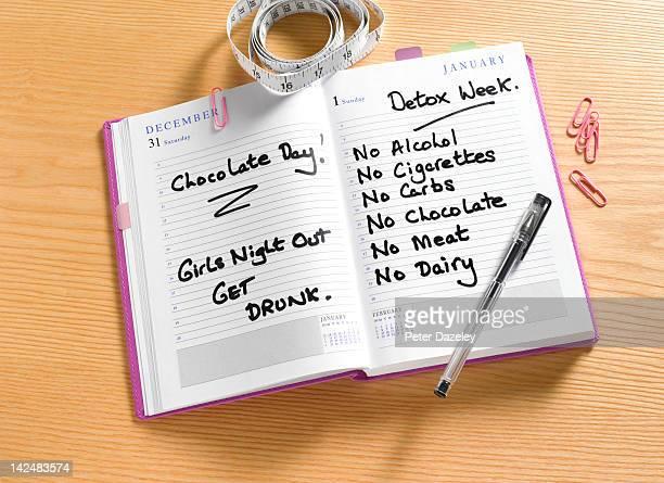 New years resolution detox diary
