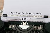 2019 New Year's Resolution typed on vintage typewriter