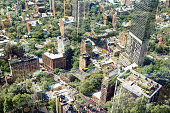 New York aerial view with trees.