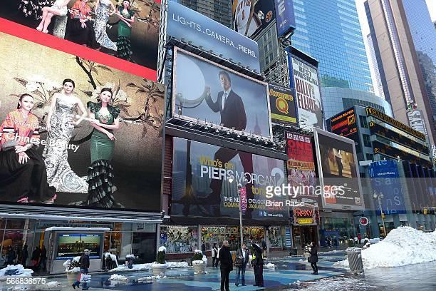 New York America 07 Feb 2011 Billboard For Pears Morgan Tv Program At Times Square New York America