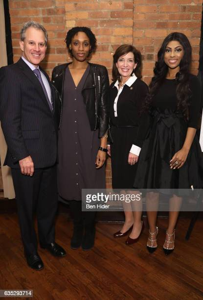 New York Attorney General Eric Schneiderman and Lieutenant Governor of New York Kathy Hochul and guests attend the Special Screening Of FilmRise's...