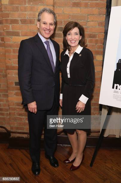 New York Attorney General Eric Schneiderman and Lieutenant Governor of New York Kathy Hochul attend the Special Screening Of FilmRise's 'From...
