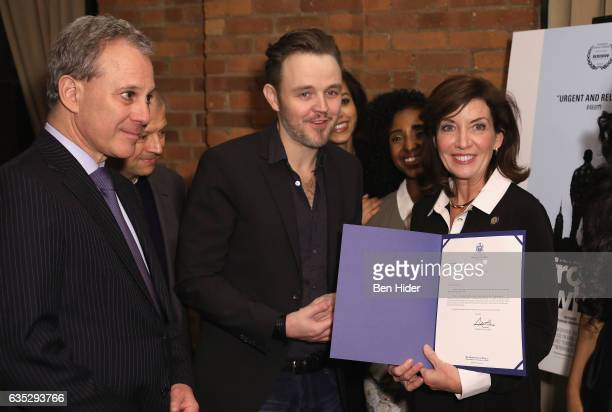 New York Attorney General Eric Schneiderman Jim Norton Matthew Newton and Lieutenant Governor of New York Kathy Hochul and guests attend the Special...