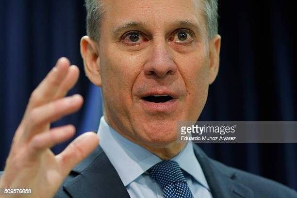 New York Attorney General Eric Schneiderman speaks at a news conference to announce enforcement action against Morgan Stanley on February 11 2016 in...
