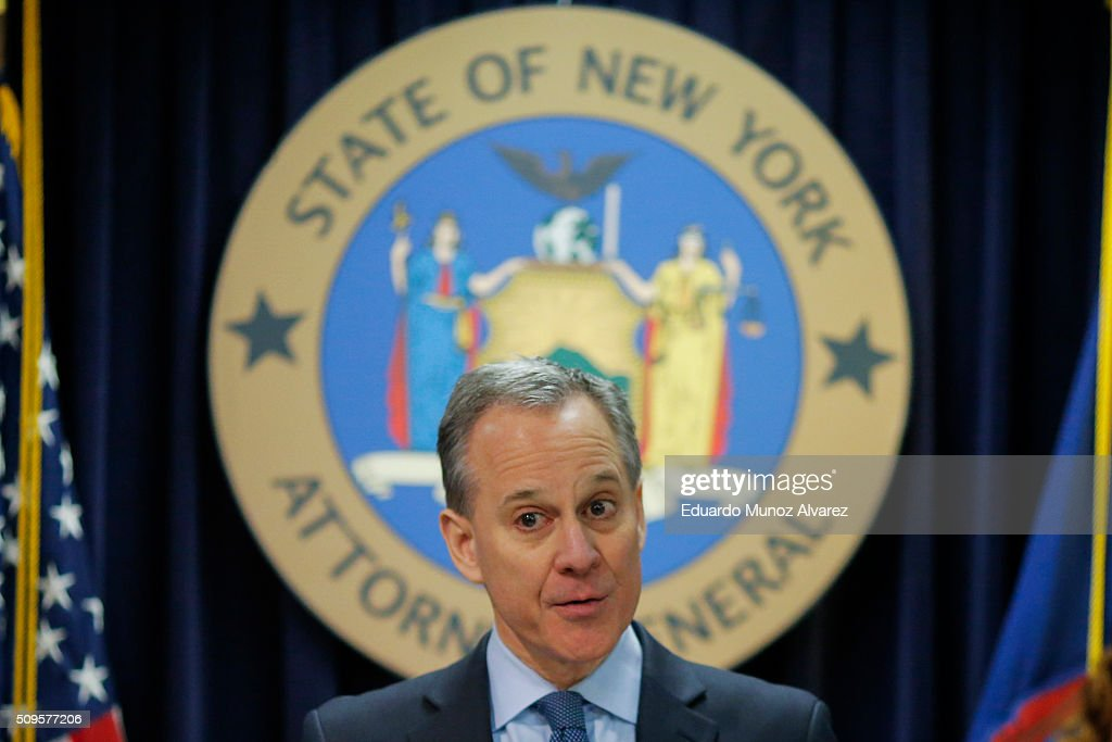 New York Attorney General <a gi-track='captionPersonalityLinkClicked' href=/galleries/search?phrase=Eric+Schneiderman&family=editorial&specificpeople=3634560 ng-click='$event.stopPropagation()'>Eric Schneiderman</a> speaks at a news conference to announce enforcement action against Morgan Stanley on February 11, 2016 in New York City. New York Attorney Schneiderman announced Morgan Stanley will pay a $3.2 billion settlement over the bank's practices leading up to the financial crisis.