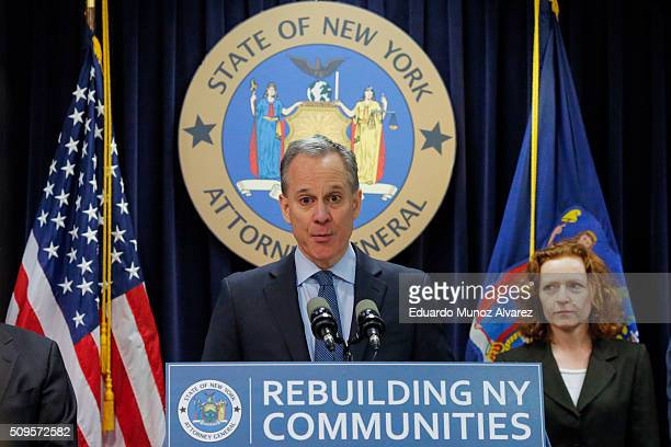 New York Attorney General Eric Schneiderman speaks at a news conference where he announced enforcement action against Morgan Stanley on February 11...