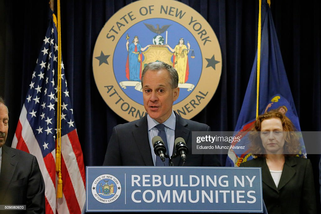 New York Attorney General <a gi-track='captionPersonalityLinkClicked' href=/galleries/search?phrase=Eric+Schneiderman&family=editorial&specificpeople=3634560 ng-click='$event.stopPropagation()'>Eric Schneiderman</a> speaks at a news conference where he announced enforcement action against Morgan Stanley on February 11, 2016 in New York City. New York Attorney Schneiderman announced Morgan Stanley will pay a $3.2 billion settlement over the bank's practices leading up to the financial crisis.
