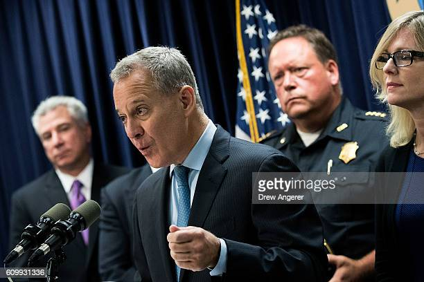 New York Attorney General Eric Schneiderman speaks during a press conference regarding a major drug bust at the office of the New York Attorney...