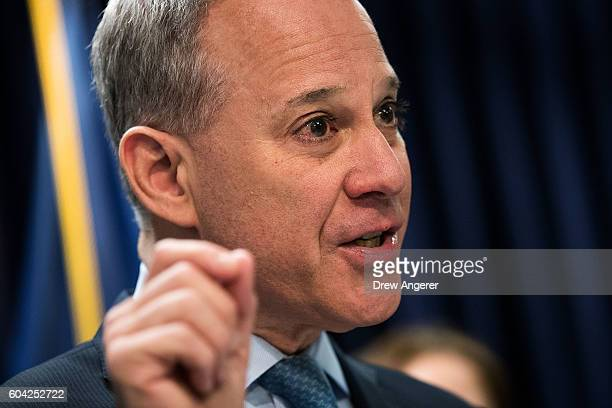 New York Attorney General Eric Schneiderman speaks during a press conference at the office of the New York Attorney General September 13 2016 in New...