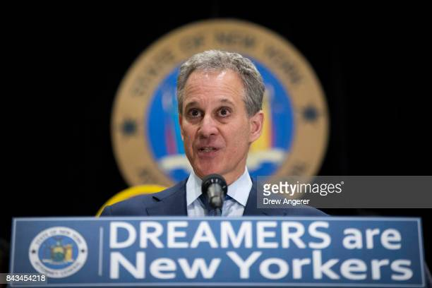 New York Attorney General Eric Schneiderman speaks during a press conference to announce the filing of a multistate lawsuit to protect DACA...