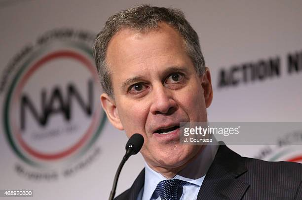 New York Attorney General Eric Schneiderman speaks on day 1 of the National Action Network 2015 Convention at Sheraton New York Times Square on April...