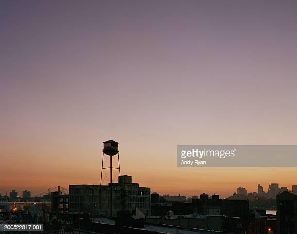 USA, New York, Brooklyn, water tower, cityscape, sunset