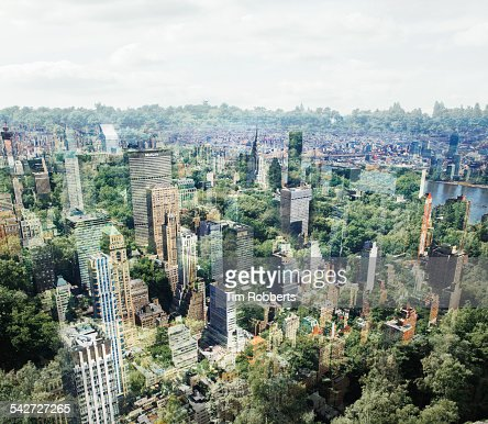 New York buildings with trees.