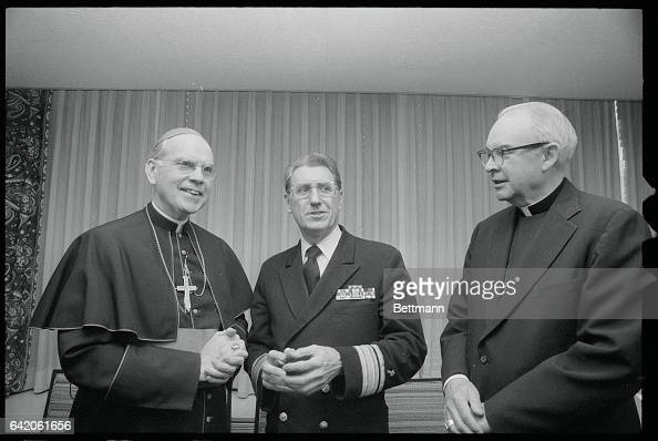 Cardinal Terence Cooke introduces Bishopelect John O'Connor to the press after he was named a Bishop by Pope John Paul II O'Connor of Philadelphia is...