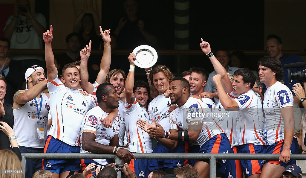 New York celebrate after winnng the Plate final after their victory over Gloucester during the World Club 7's at Twickenham Stadium on August 18, 2013 in London, England.