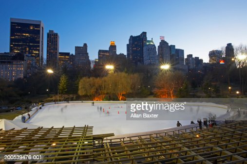USA, New York, Central Park, ice rink, elevated view, sunset : Stock Photo