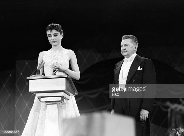 AWARDS New York Ceremony Air Date Pictured Best Actress winner Audrey Hepburn for 'Roman Holiday' actor Jean Hersholt during the 26th Annual Academy...