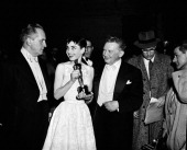 AWARDS New York Ceremony Air Date Pictured Host/actor Fredric March Best Actress winner Audrey Hepburn for 'Roman Holiday' actor Jean Hersholt during...