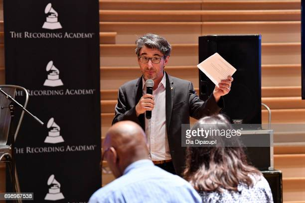New York Chapter of The Recording Academy executive director Nick Cucci speaks during the GRAMMY Pro Art of the Craft The Listening Sessions at The...