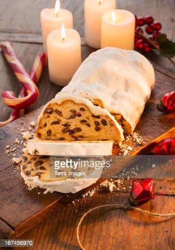 USA, New York, Christmas fruit cake : Stock Photo