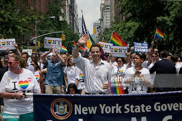 New York City 44th Gay Pride Parade on June 30 2013 in New York City New York State governor Andrew Cuomo marching This year's parade was an...