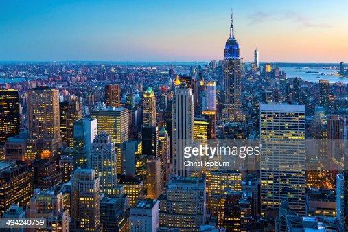 New York City Aerial Skyline at Dusk, USA
