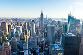 Wide angle view over Manhattan in the city of New York at sunset. New York State, USA.