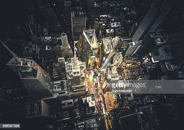 new york city aerial view of the downtown