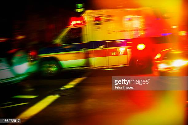 USA, New York City, Ambulance at night