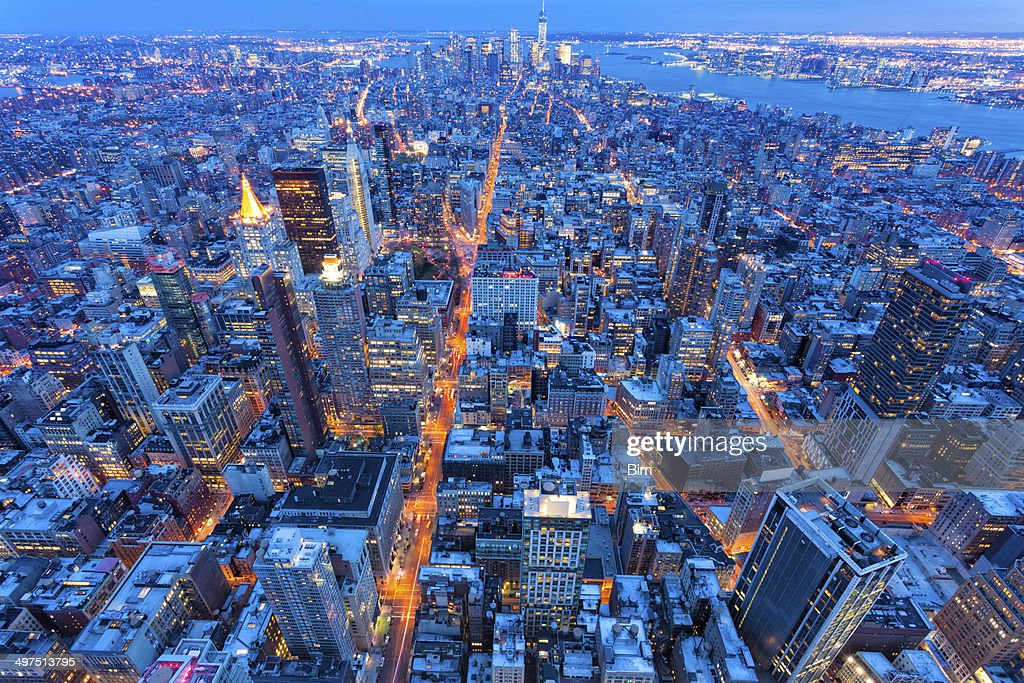 New York City at Night, Aerial View