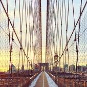 USA, New York City, Brooklyn bridge at sunset