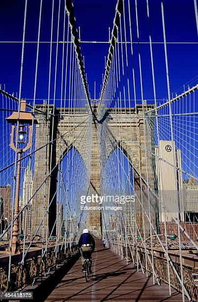 New York City Brooklyn Bridge Pedestrian Walkway And Bike Path