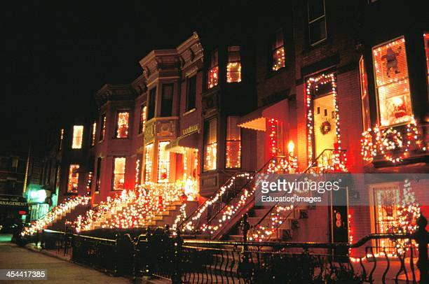 New York City Brooklyn Christmas Lights On Row Of Townhouses