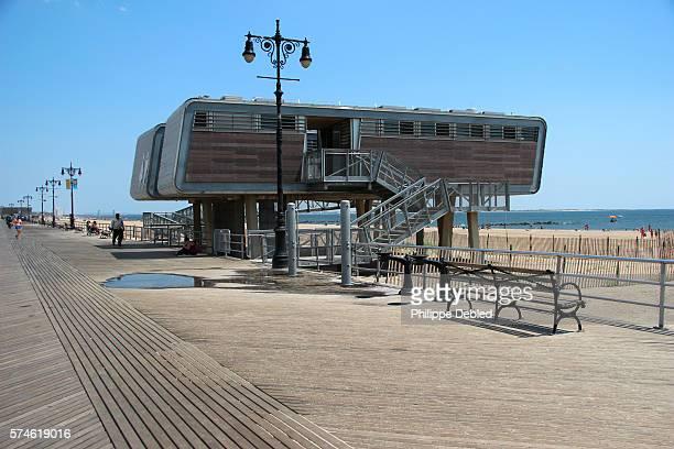 USA, New York City, Brooklyn, Coney Island, Public restroom on the boardwalk known as comfort station