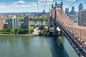 Overhead cable car with cabin over the East River next to the Queensboro Bridge in New York City to Roosevelt Island.